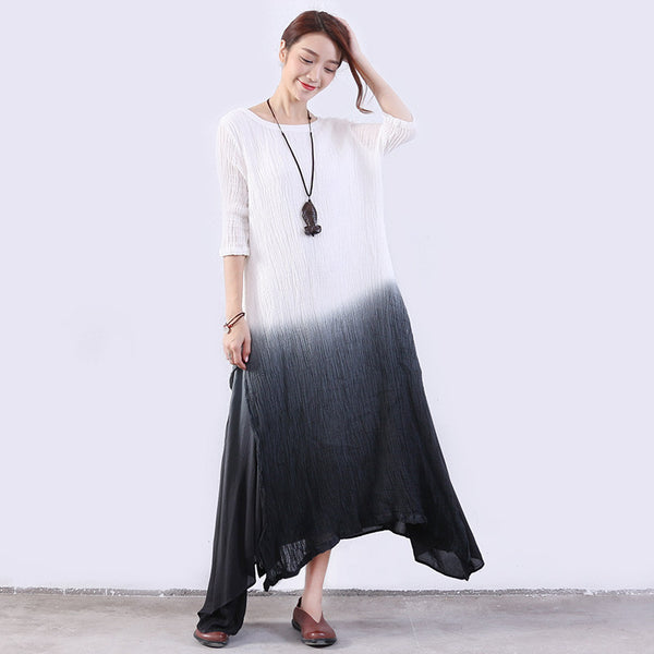 Irregular Women Lining Slit Cotton Linen Gray White Dress