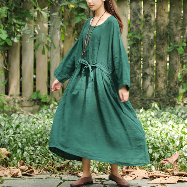 Flax Dark Green Long Sleeve Pleated Pockets Lacing Embroidery Dress - Buykud