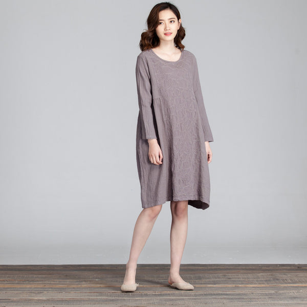 Splicing Women Folded Casual Loose Gray Dress