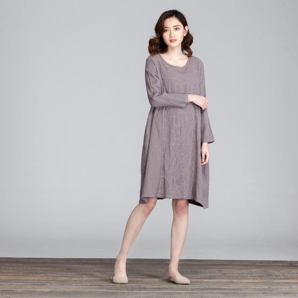 Splicing Women Folded Casual Loose Gray Dress - Buykud