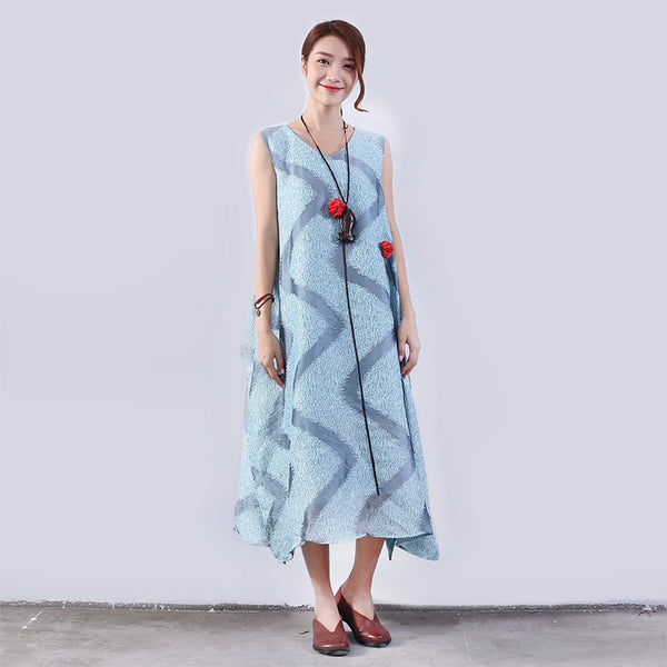 Casual Loose Summer Women Slit Lining Cotton Hemp Dress
