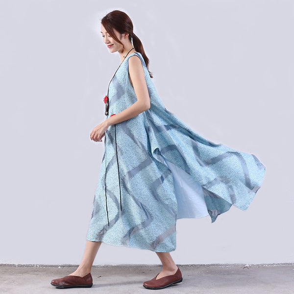 Casual Loose Summer Women Slit Lining Cotton Hemp Dress - Buykud