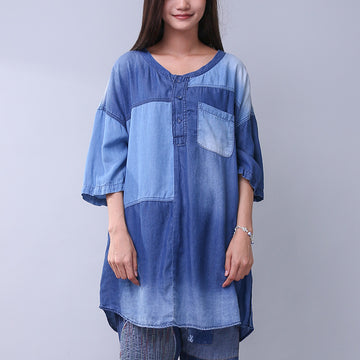 Women V Neck Casual Loose Pocket Denim Shirt - Buykud