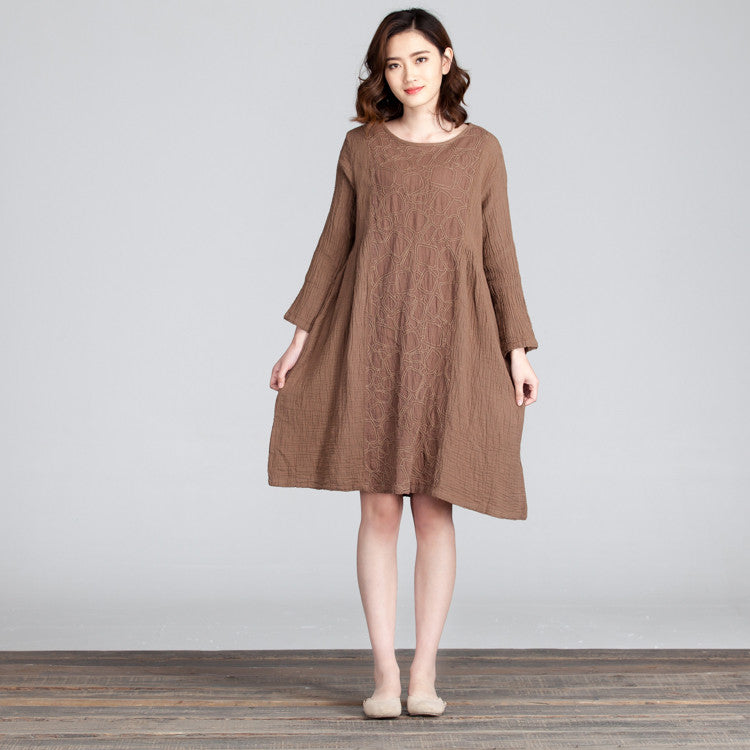 Splicing Women Folded Casual Loose Light Coffee Dress - Buykud