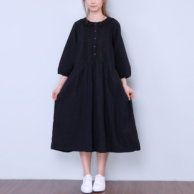 Splicing Women Casual Retro Black Dress