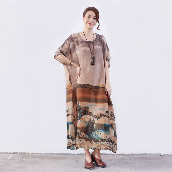 Summer Women Pocket Printing Silk Coffee Dress