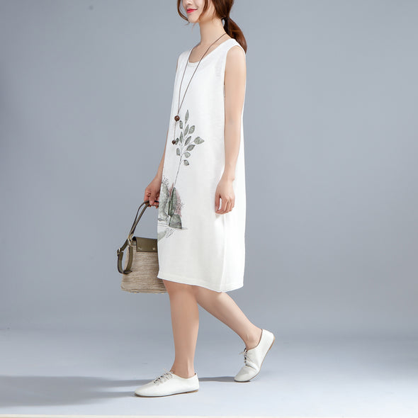 Round Neck Sleeveless Printed Summer White Dress - Buykud