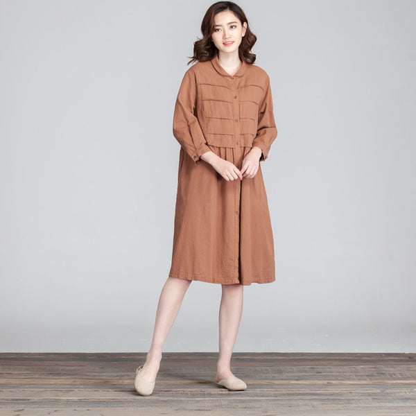 Folded Loose Women Casual Cotton Linen Brown Dress
