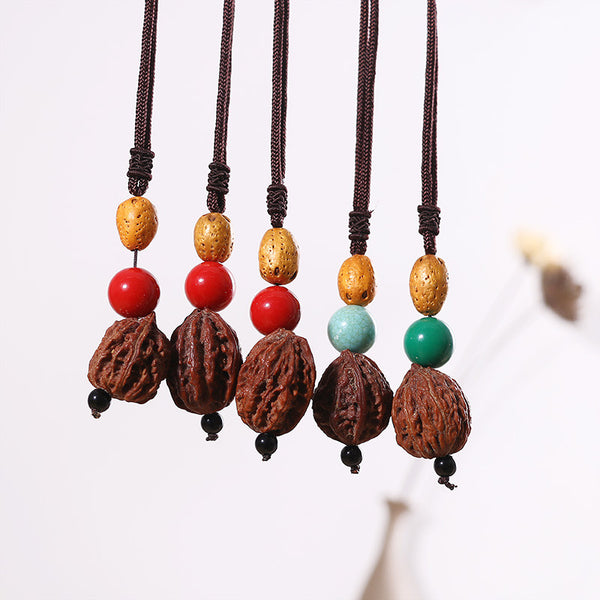 Retro Casual Ethnic Women Natural Walnut Necklaces