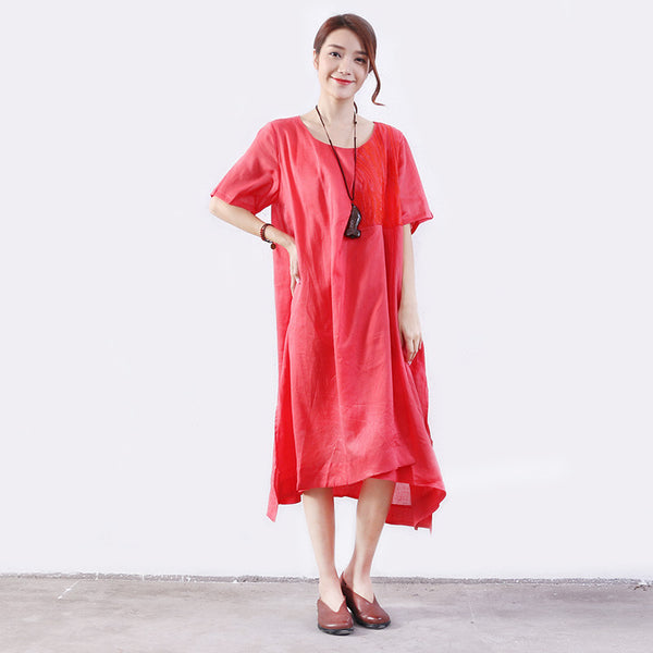Summer Women Lining Slit Pocket Cotton Red Dress
