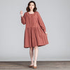 Lattice Women Cotton Splicing Loose Folded Casual Red Dress - Buykud