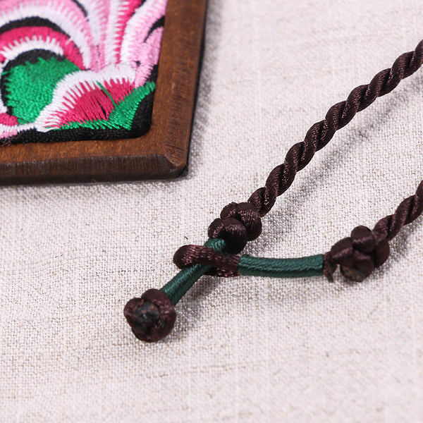 Embroidered Women Retro Leather Ethnic Wooden Necklaces