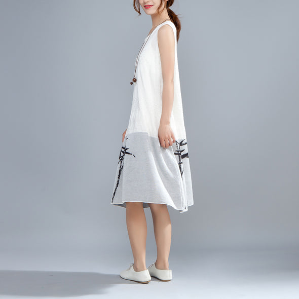 Summer Printed Round Neck Sleeveless White Thin Dress - Buykud