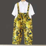 Women Loose Yellow Floral Printing Cotton Jumpsuits - Buykud