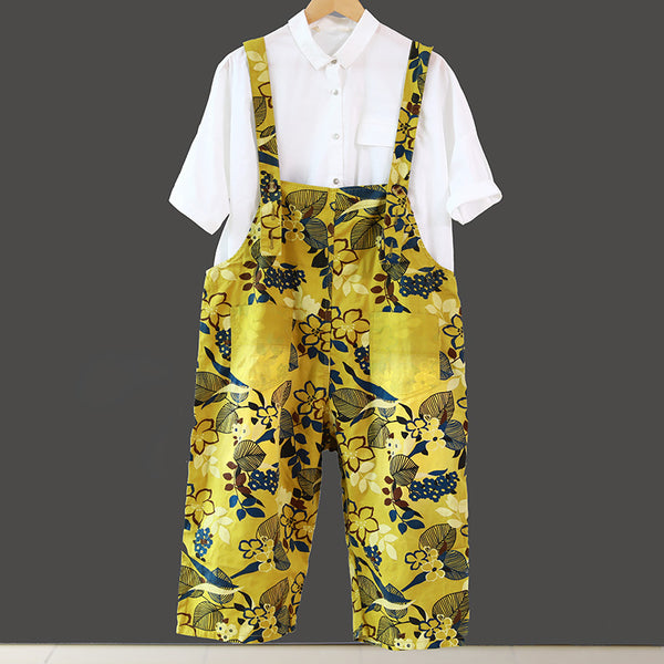 Women Loose Yellow Floral Printing Cotton Jumpsuits