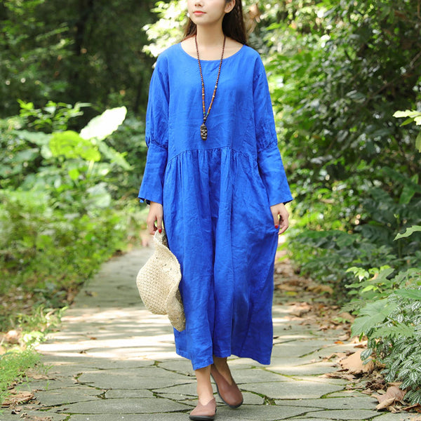 Women Retro Long Sleeve Pleated Pockets Buttons Blue Ramie Dress - Buykud