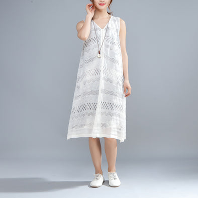 V Neck Sleeveless False Two Piece White Dress - Buykud