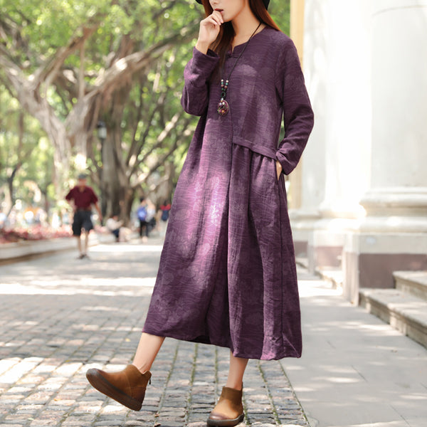 Ethnic Lotus Embroidery Long Sleeve Purple Folded Dress For Women - Buykud