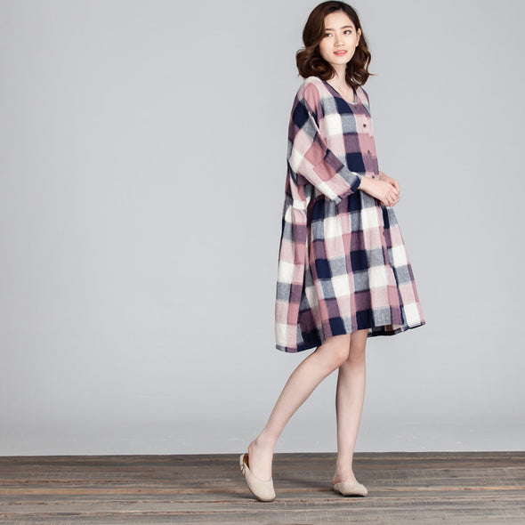 Women Lattice Loose Splicing Casual Pink Dress - Buykud