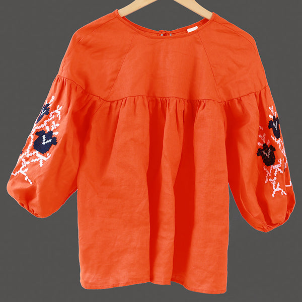 Women Loose Linen Casual Lacing Embroidery Orange Shirt