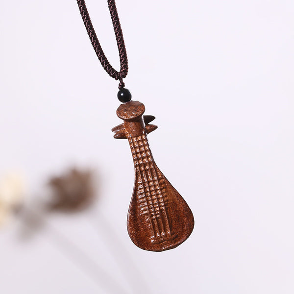Retro Women Ethnic Wooden Lute Necklaces - Buykud