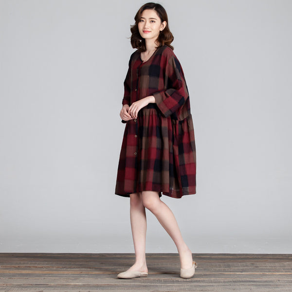 Women Lattice Loose Splicing Casual Red Dress - Buykud
