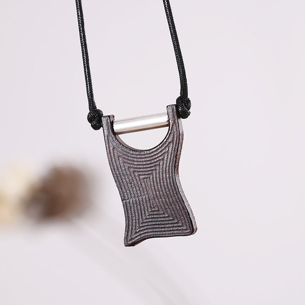 Women Wooden Ethnic Metal Retro Rhombus Necklaces