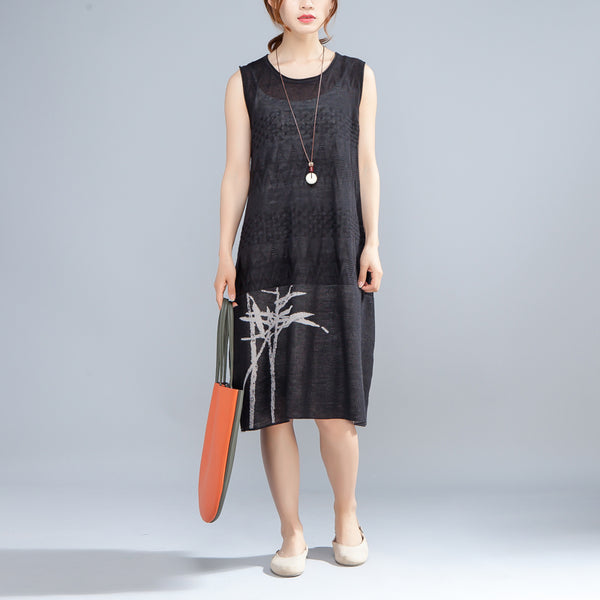 Summer Printed Round Neck Sleeveless Black Thin Dress - Buykud