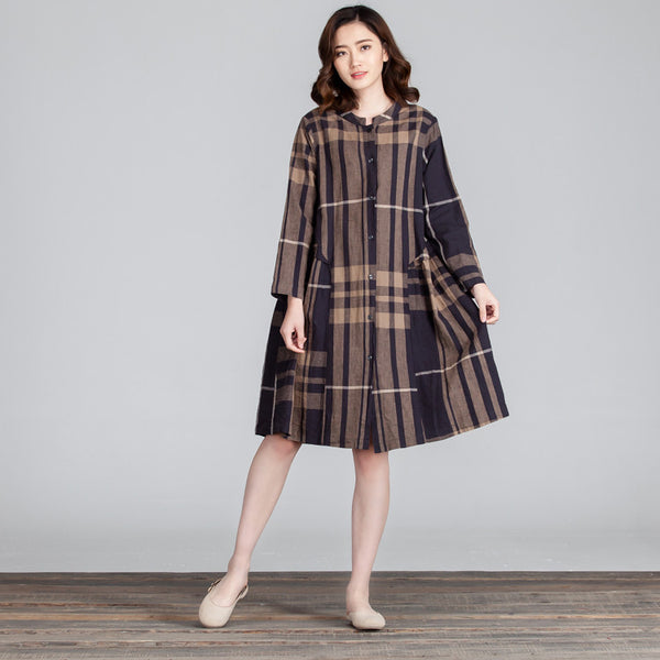 Spring Casual Linen Lattice Women Coffee Dress - Buykud
