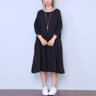 Linen Round Neck Soft Women Black Dress - Buykud