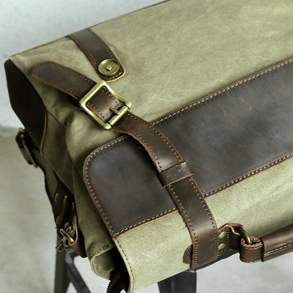 Leather Canvas Buckled Zipper Army Green Messenger Bag - Buykud