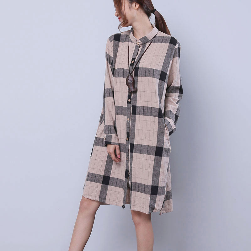 Women Chic Single Breasted Splitting Lattice Shirt Dress - Buykud