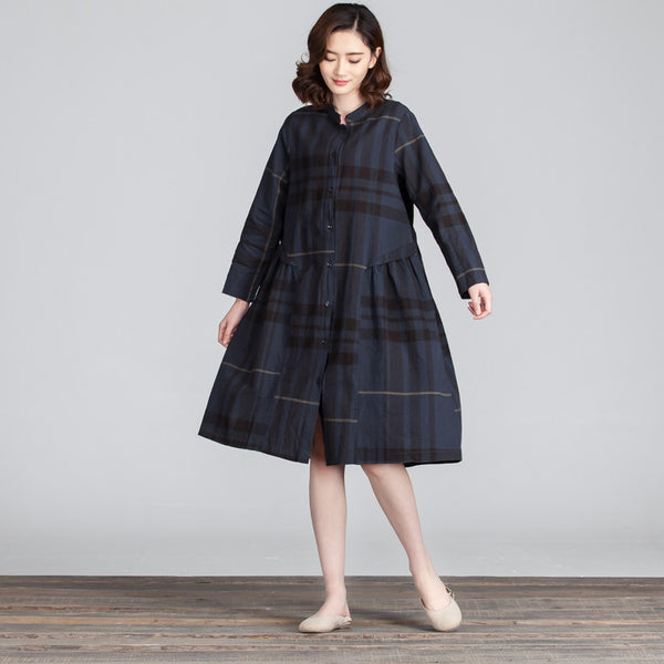 Spring Casual Linen Lattice Women Dark Blue Dress - Buykud