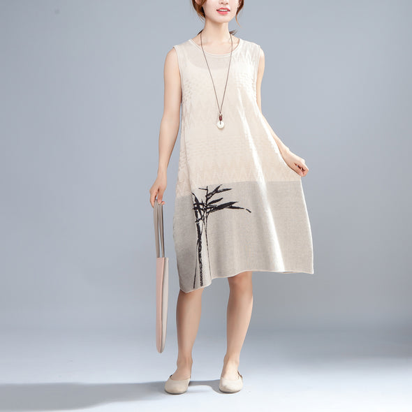 Summer Printed Round Neck Sleeveless Beige Thin Dress - Buykud