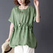Loose Summer Short Sleeve Round Neck Green Tops - Buykud