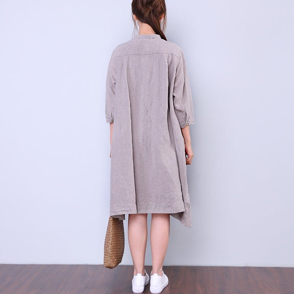 Printing Casual Splicing Loose Women Linen Dress - Buykud