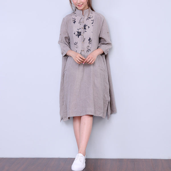 Printing Casual Splicing Loose Women Linen Dress
