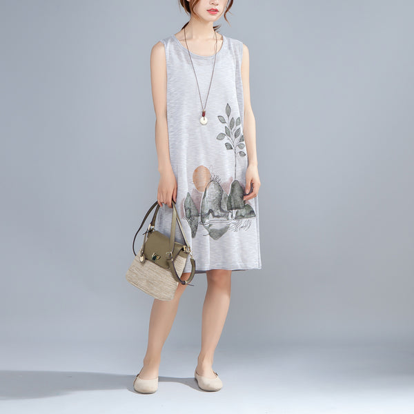 Round Neck Sleeveless Printed Summer Gray Dress - Buykud