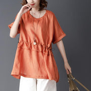 Loose Summer Short Sleeve Round Neck Tops