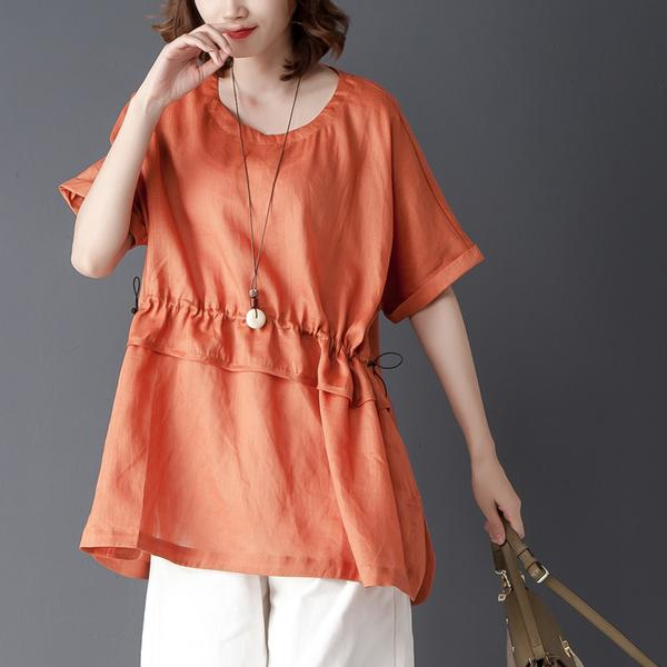 Loose Summer Short Sleeve Round Neck Green Tops