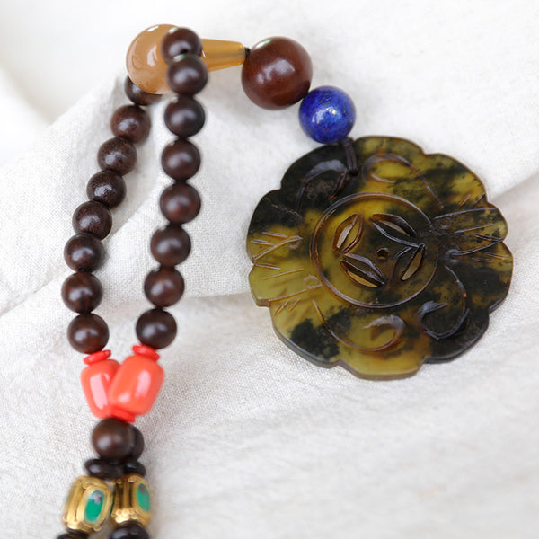 Vintage Wooden Beads Retro Lucky Women Necklace - Buykud