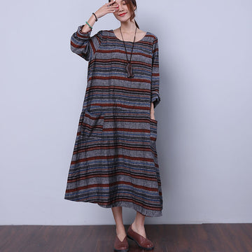 Loose Striped Pocket Women Gray Dress - Buykud