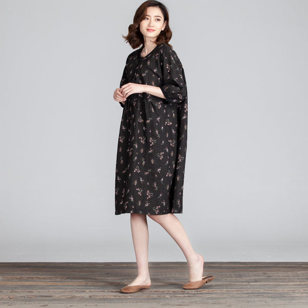 Floral Loose Folded Casual Women Linen Cotton Dress - Buykud