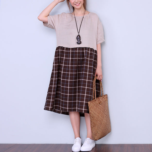 Round Neck Splicing Women Lattice Dress - Buykud