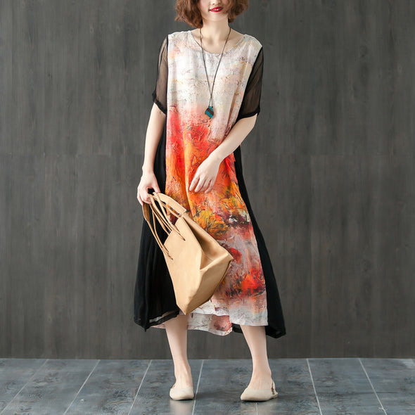 Round Neck Short Sleeve Printed Splicing Summer Dress - Buykud