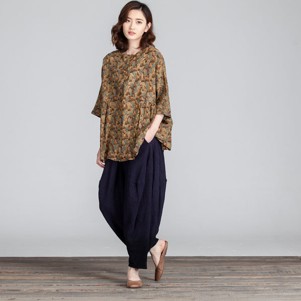 Floral Women Loose Linen Cotton Casual Splicing Brown Shirt - Buykud