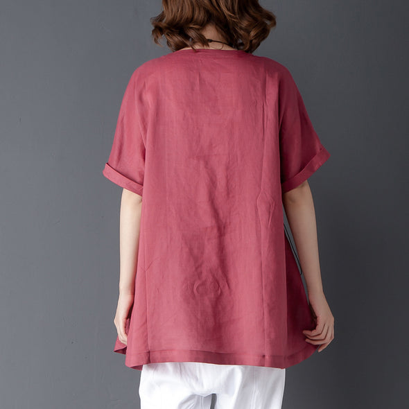 Loose Summer Short Sleeve Round Neck Red Tops - Buykud