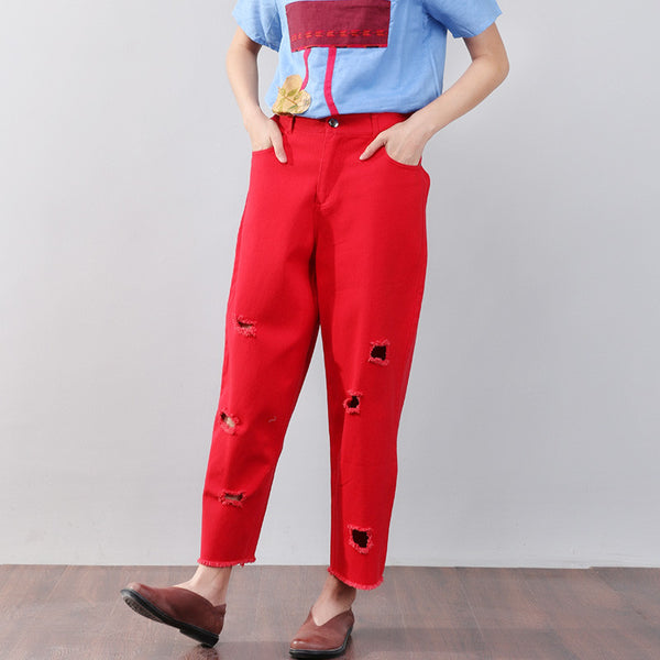 Holed Cotton Women Casual Red Pants - Buykud