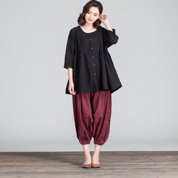 Women Lattice Loose Linen Cotton Casual Pocket Black Shirt - Buykud
