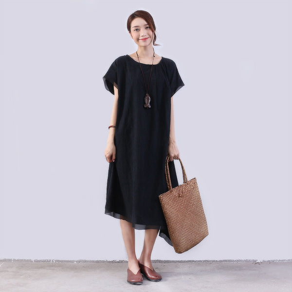 Casual Loose Women Shoulder Sleeves Black Dress - Buykud